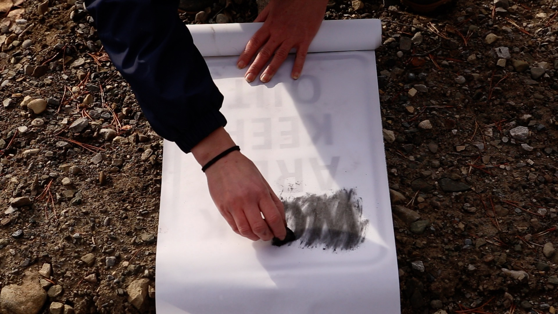 Artist at Work, Grassy Mountain Road, Rubbing #1, 2020. Charcoal on vellum, 73.66 x 45.72 cm. Photo: Courtesy the artist.